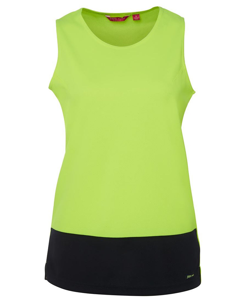 JB's Wear-JB's Ladies Hi Vis Traditional Singlet-Lime/Navy / 10-Uniform Wholesalers - 2
