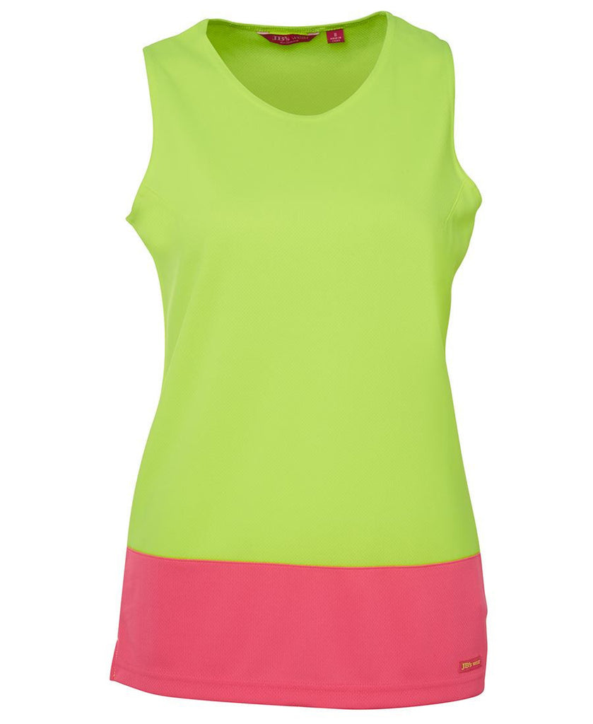 JB's Wear-JB's Ladies Hi Vis Traditional Singlet-Lime/Pink / 10-Uniform Wholesalers - 1