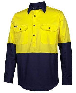 JB'S Hi Vis Close Front L/S 150G Work Shirt (6HVCS)