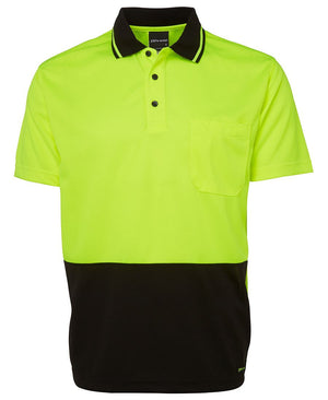 JB's Wear-JB's Adults Hi Vis  Non Cuff Traditional Polo 1st (11 colour)-Lime/Black / XS-Uniform Wholesalers - 2