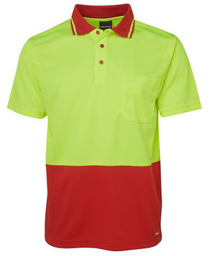 JB's Wear-JB's Adults Hi Vis  Non Cuff Traditional Polo 1st (11 colour)-Lime/Red / XS-Uniform Wholesalers - 3