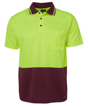 JB's Wear-JB's Adults Hi Vis  Non Cuff Traditional Polo 1st (11 colour)-Lime/Maroon / XS-Uniform Wholesalers - 7