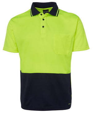 JB's Wear-JB's Adults Hi Vis  Non Cuff Traditional Polo 1st (11 colour)-Lime/Navy / XS-Uniform Wholesalers - 8