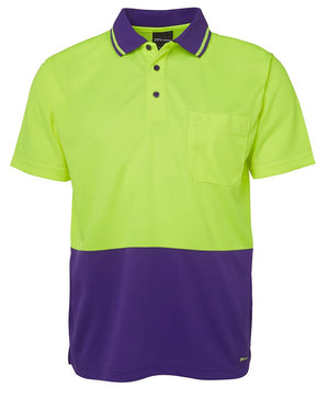 JB's Wear-JB's Adults Hi Vis  Non Cuff Traditional Polo 1st (11 colour)-Lime/Purple / XS-Uniform Wholesalers - 10