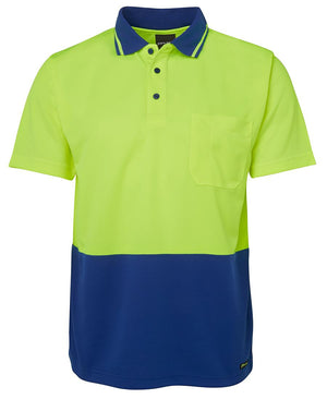 JB's Wear-JB's Adults Hi Vis  Non Cuff Traditional Polo 1st (11 colour)-Lime/Royal / XS-Uniform Wholesalers - 11