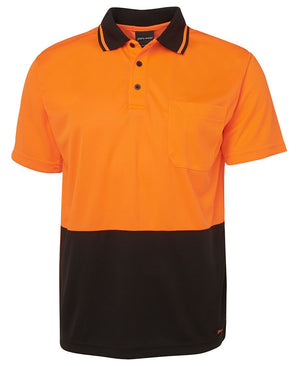 JB's Wear-JB's Adults Hi Vis  Non Cuff Traditional Polo 1st (11 colour)-Orange/Black / XS-Uniform Wholesalers - 12