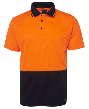 JB's Wear-JB's Adults Hi Vis  Non Cuff Traditional Polo 1st (11 colour)-Orange/Navy / XS-Uniform Wholesalers - 9