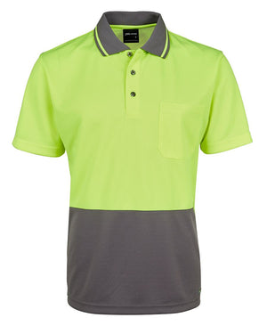 JB's Wear-JB's Adults Hi Vis  Non Cuff Traditional Polo 1st (11 colour)-Lime/Charcoal / XS-Uniform Wholesalers - 5