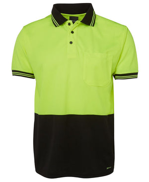 JB's Wear-Jb's Hi Vis Short Sleeve Traditional Polo - Adults-Lime/Black / XS-Uniform Wholesalers - 2