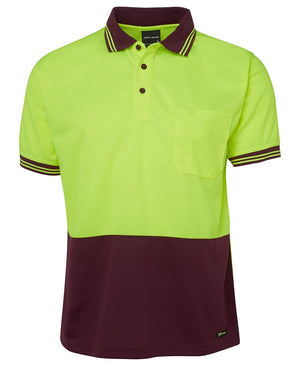 JB's Wear-Jb's Hi Vis Short Sleeve Traditional Polo - Adults-Lime/Maroon / XS-Uniform Wholesalers - 6