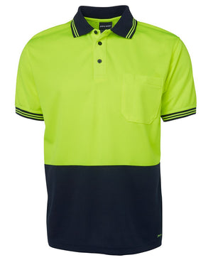 JB's Wear-Jb's Hi Vis Short Sleeve Traditional Polo - Adults-Lime/Navy / XS-Uniform Wholesalers - 7