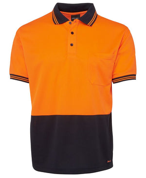 JB's Wear-Jb's Hi Vis Short Sleeve Traditional Polo - Adults-Orange/Navy / XS-Uniform Wholesalers - 10