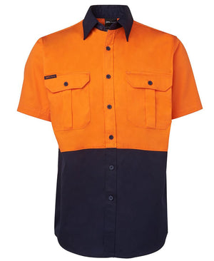 JB's Wear-Jb's Hi Vis Short Sleeve 190g Shirt - Adults-Orange/Navy / S-Uniform Wholesalers - 2
