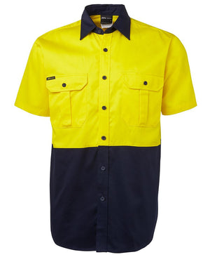 JB's Wear-Jb's Hi Vis Short Sleeve 190g Shirt - Adults-Yellow/Navy / S-Uniform Wholesalers - 4