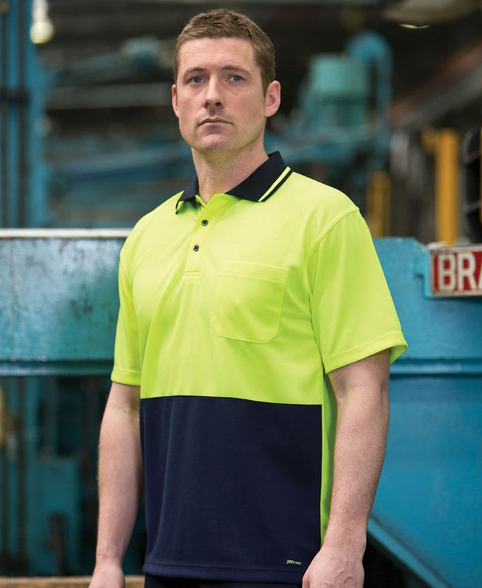 JB's Adults Hi Vis  Non Cuff Traditional Polo 1st (11 colour) (6HVNC)