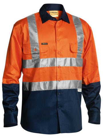 Bisley 2 Tone Hi Vis Drill Shirt 3M Reflective Tape - Long Sleeve (BS6267T)