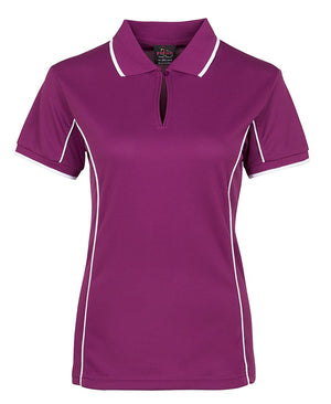 JB's Wear-JB's Podium Ladies Piping Polo 2nd (8 Colours)-Mulberry/White / 8-Uniform Wholesalers - 10