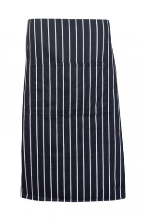 Ramo-Ramo Striped Apron - Full-waist-70cm X 82cm / Black/White-Uniform Wholesalers - 1