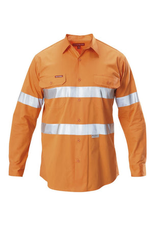 Hard Yakka-Hard Yakka  Koolgear Hi-visibility Cotton Twill Ventilated Shirt With 3m Tape Long Sleeve-Safety Orange / S-Uniform Wholesalers - 1