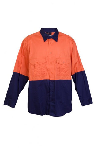 Ramo-Ramo 100% Combed Cotton Drill Long Sleeve Shirts-Orange/Navy / XS-Uniform Wholesalers - 1