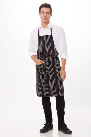 Chef Works  Striped Bib Apron - (A550-BWR)