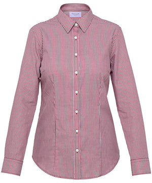 Van Heusen-Van Heusen Ladies Cotton Polyester Yarn Dyed Stripe Classic Fit Shirt-Burgundy / 6-AB-Uniform Wholesalers - 2