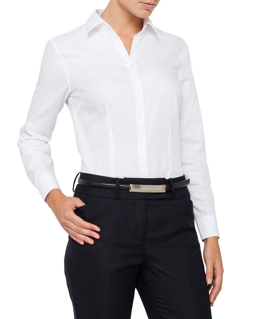 Van HeusenWomen's Classic Fit Shirt Cotton Polyester Mini Herringbone Easy Care (AWL81U)