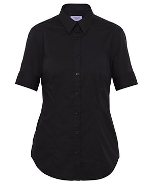 Van Heusen-Van Heusen Ladies Cotton Stretch Poplin Short Sleeve Classic Fit Shirt-Black / 6-AB-Uniform Wholesalers - 1