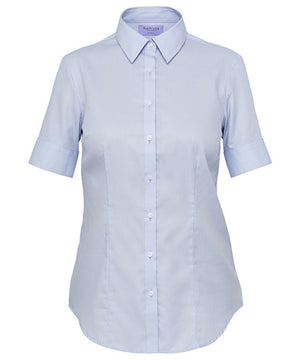 Van Heusen-Van Heusen Ladies Cotton Polyester Mini Herringbone Short Sleeve Classic Fit Shirt-Sky Blue / 6-AB-Uniform Wholesalers - 1