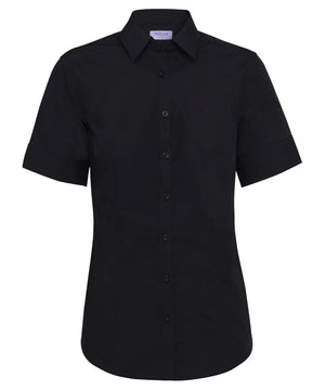 Van Heusen-Van Heusen Cotton Polyester Poplin Short Sleeve Classic Fit-6-AB / Black-Uniform Wholesalers - 1