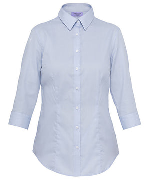 Van Heusen-Van Heusen Ladies Cotton Polyester Mini Herringbone 3/4 Sleeve Classic Fit Shirt-Powder Blue / 14-AB-Uniform Wholesalers - 1