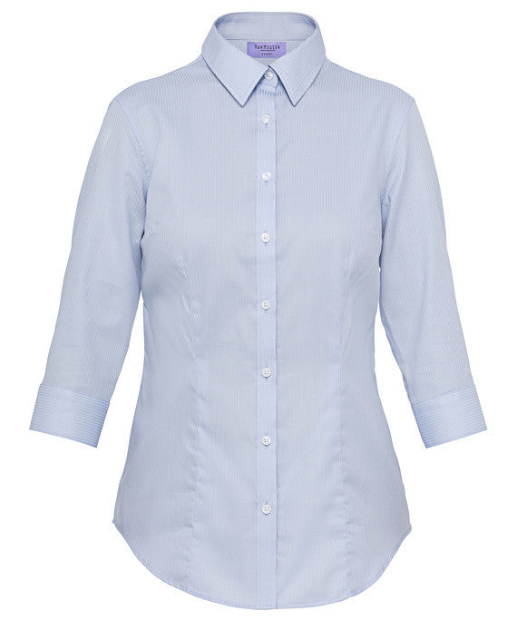 Van HeusenWomen's Classic Fit Shirt Cotton Polyester Mini Herringbone Easy Care 3/4 Sleeve (AWTQ81U)