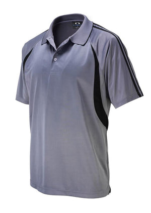 Biz Collection-Biz Collection Mens Flash Polo 1st (  9 Colour )-Ash / Black / Small-Uniform Wholesalers - 2