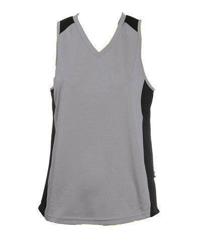 Australian Spirit-Aus Spirt Olympikool Ladies Singlet 1st ( 10 Colour )-Ashe/Black / 8-Uniform Wholesalers - 3