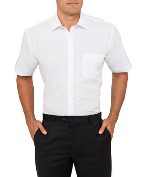 Van Heusen Men's Classic Relaxed Fit Shirt Polyester Cotton Solid Dyed Poplin Easy Care Short Sleeve (B101)