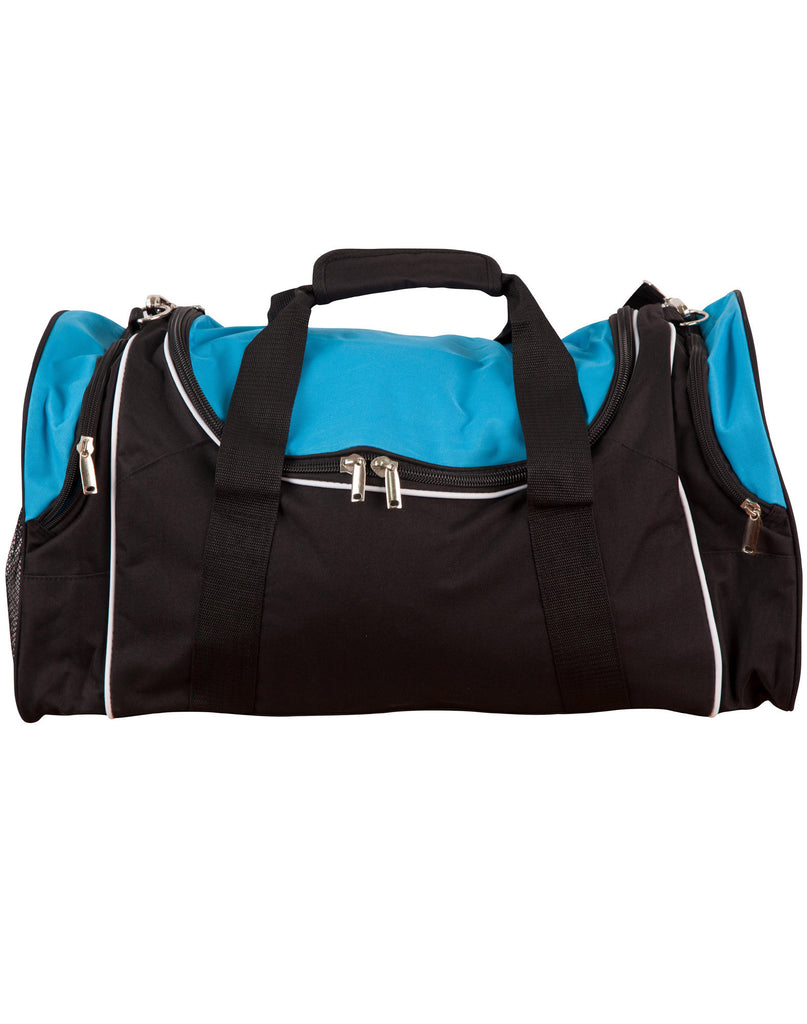 Winning Spirit-Winning Spirit Sports/ Travel Bag-Black/White/Aqua Blue-Uniform Wholesalers - 1