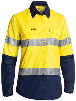 Bisley Workwear-Bisley Womens 3m Taped Hi Vis X Airflow™ Ripstop Shirt-8 / Yellow/Navy-Uniform Wholesalers - 1