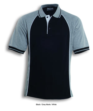 Bocini-Bocini Men's Panel Polo-Black/GreyMarle/White / S-Uniform Wholesalers - 2