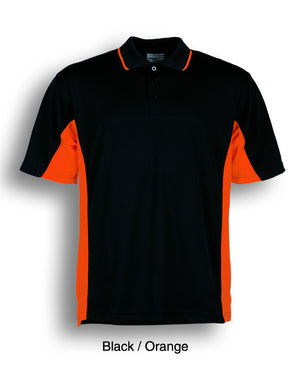Bocini-Bocini Men's Breezeway Panel Polo(1st 10 colors)-Black/Orange / S-Uniform Wholesalers - 4
