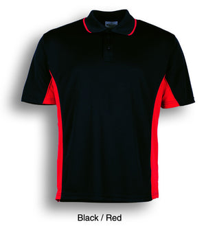 Bocini-Bocini Men's Breezeway Panel Polo(1st 10 colors)-Black/Red / S-Uniform Wholesalers - 5
