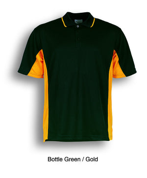 Bocini-Bocini Men's Breezeway Panel Polo(1st 10 colors)-Bottle Green/Gold / S-Uniform Wholesalers - 7