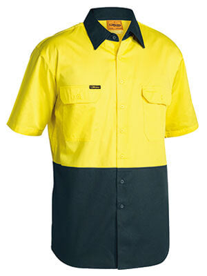 Bisley 2 Tone Cool Lightweight Drill Shirt - Short Sleeve (BS1895)