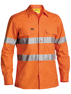 Bisley Workwear-Bisley 3m Taped Hi Vis X Airflow™ Ripstop Shirt - Long Sleeve-Orange / S-Uniform Wholesalers