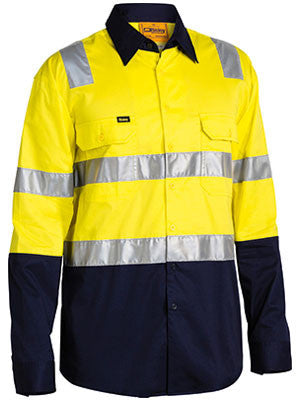Bisley Workwear-Bisley 3m Taped Cool Lightweight Shirt With Shoulder Tape-Yellow/Navy / S-Uniform Wholesalers - 1