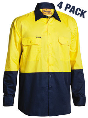 Bisley Hi Vis Cool Lightweight Mesh Ventilated Drill L/S Shirt -4 Pack -(BS68954P)