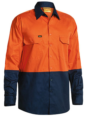 Bisley 2 Tone Hi Vis Cool Lightweight Mesh Ventilated Drill Shirt - Long Sleeve (BS6895)
