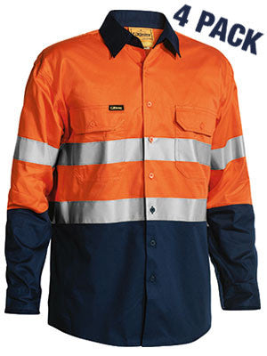 Bisley 2 Tone Hi Vis  Gusset Cuff Shirt 3M Reflective Tape-L/S 4 Pack-(BS68964P)