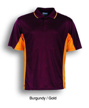 Bocini-Bocini Men's Breezeway Panel Polo(1st 10 colors)-Burgundy/Gold / S-Uniform Wholesalers - 8