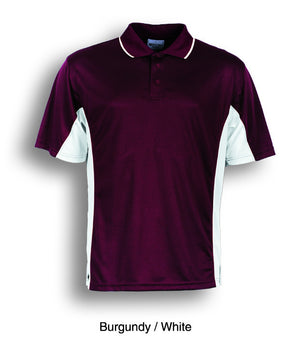 Bocini-Bocini Men's Breezeway Panel Polo(1st 10 colors)-Burgundy/White / M-Uniform Wholesalers - 9