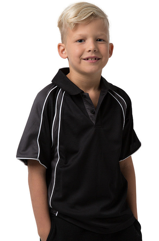 Be Seen-Be Seen Kids Polo Shirt With Contrast Sleeve Edge Piping-Black-Charcoal-White / 6-Uniform Wholesalers - 1
